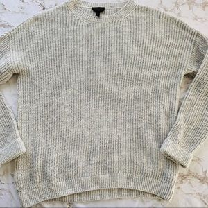 Top Shop Gray Ribbed Chunky Knit Cuffed Sweater